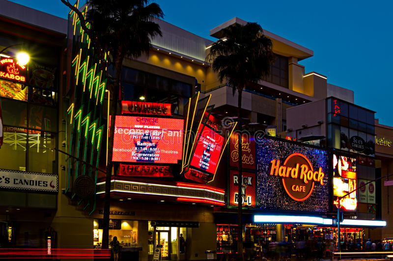 Download Nightlife On Hollywood Boulevard Editorial Image - Image of tourists, tourist: 23715380