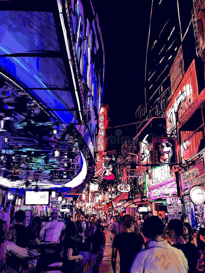 Nightlife in a street of Bangkok in Thailand