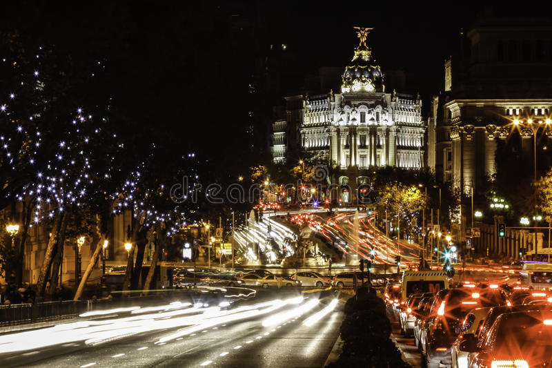Nightlife And Traffic In Madrid, Spain. Royalty Free Stock Photography