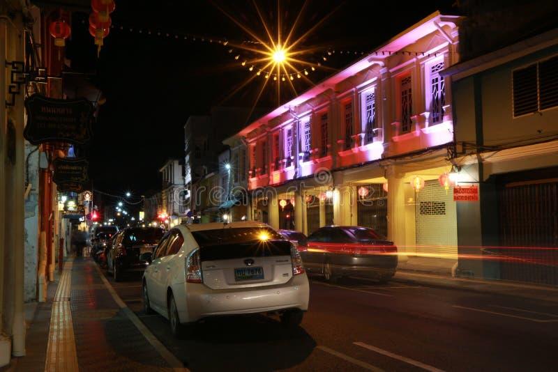 Nightlight in der alten Stadt, Phuket, Thailand lizenzfreie stockfotografie