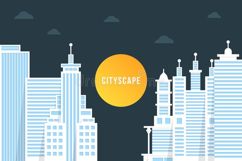 Nightly cityscape med vita byggnader stock illustrationer