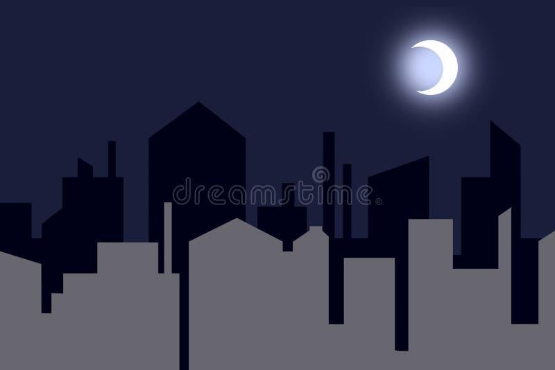 Nightly contourstad royalty-vrije illustratie