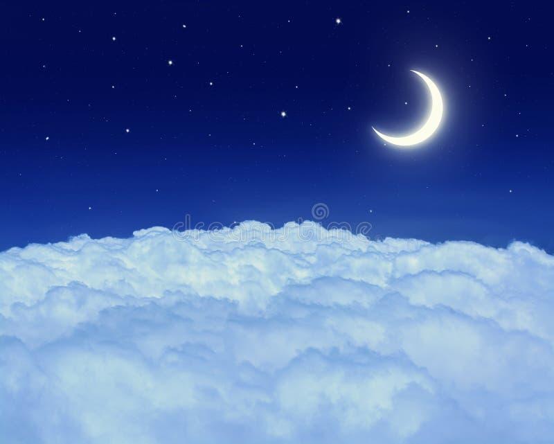 Nightly hemel met maan en sterren stock fotografie