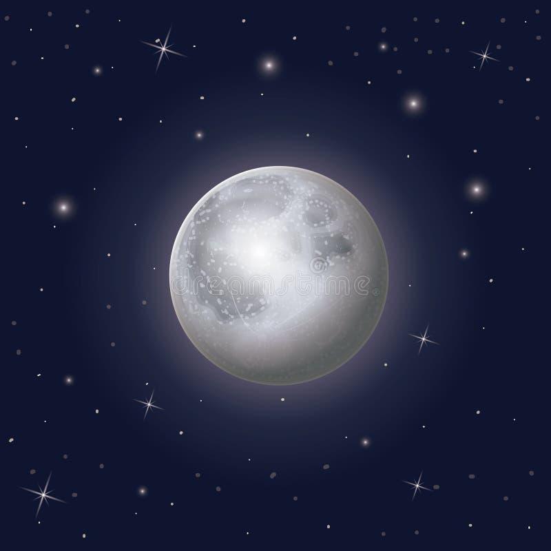 Nightly himmelplatsbakgrund med månen och stjärnor omkring stock illustrationer