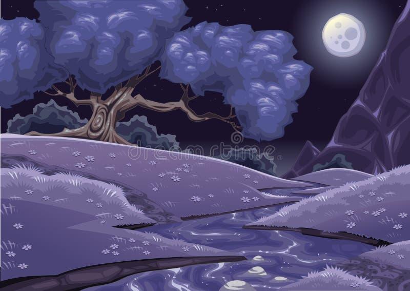 Nightly landschap van het beeldverhaal met stroom stock illustratie