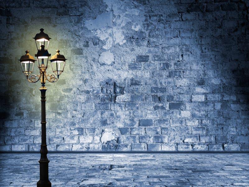 Nightly landskap i gatorna av london som förmörkar lyktan, myst royaltyfri illustrationer