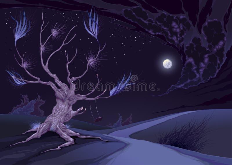 Nightly landskap med trädet vektor illustrationer