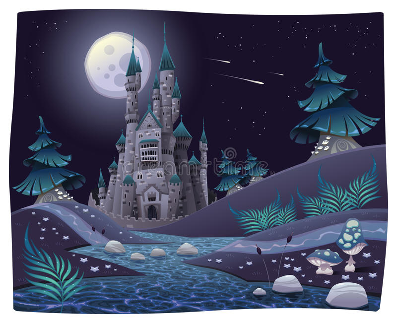 Nightly panorama with castle. stock illustration