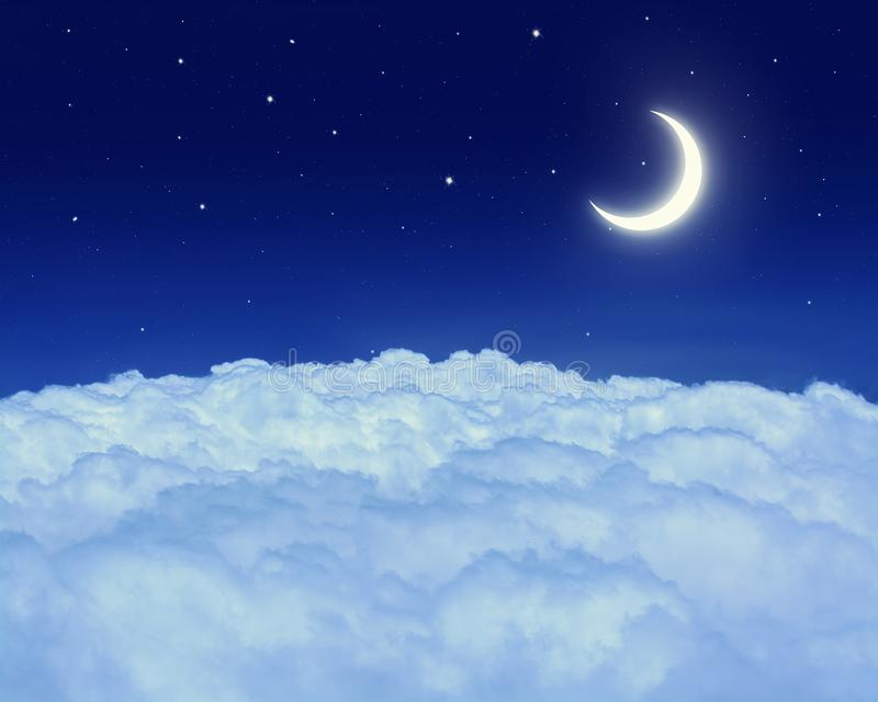 Nightly sky with moon and stars stock photography