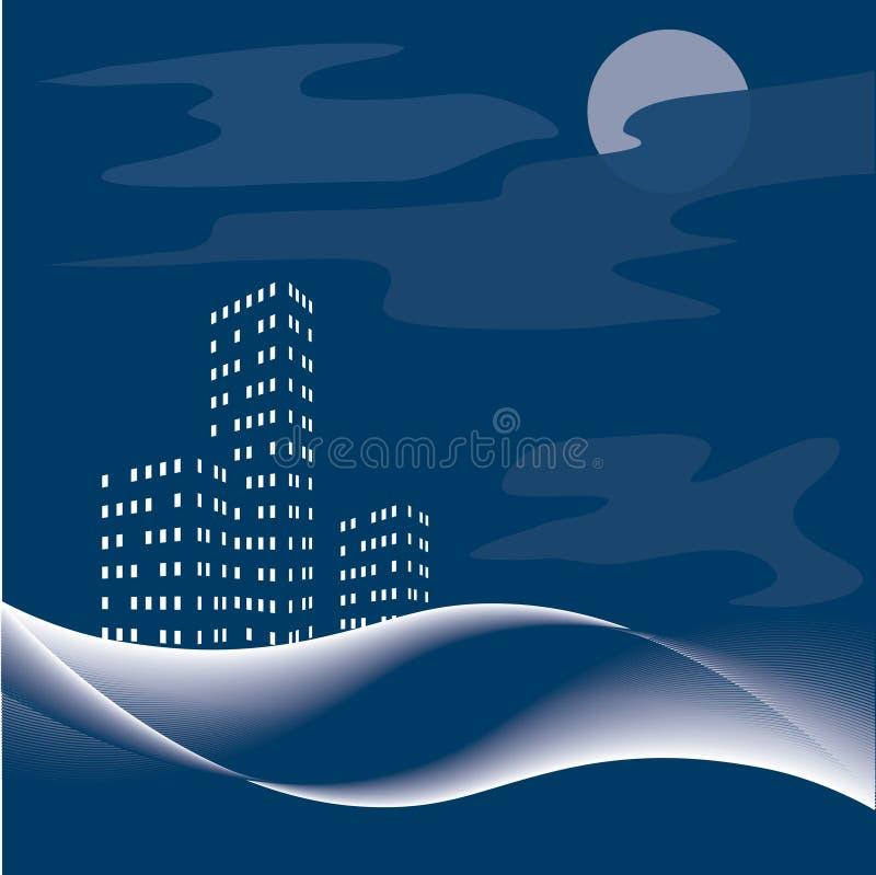 Nightly stad. Vector. royalty-vrije illustratie