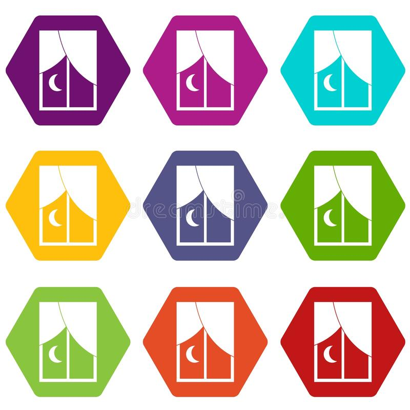 Nightly window icon set color hexahedron vector illustration