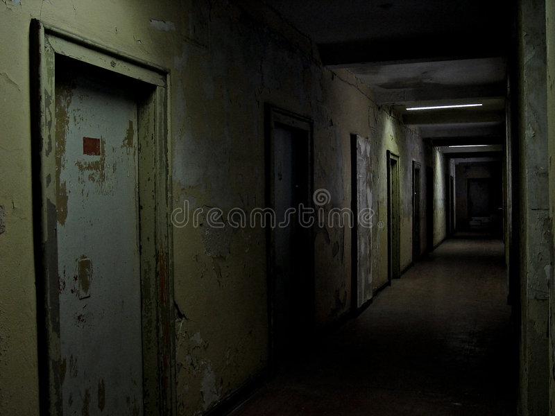 Nightmare. A rotting hallway in the style of the film silent hill
