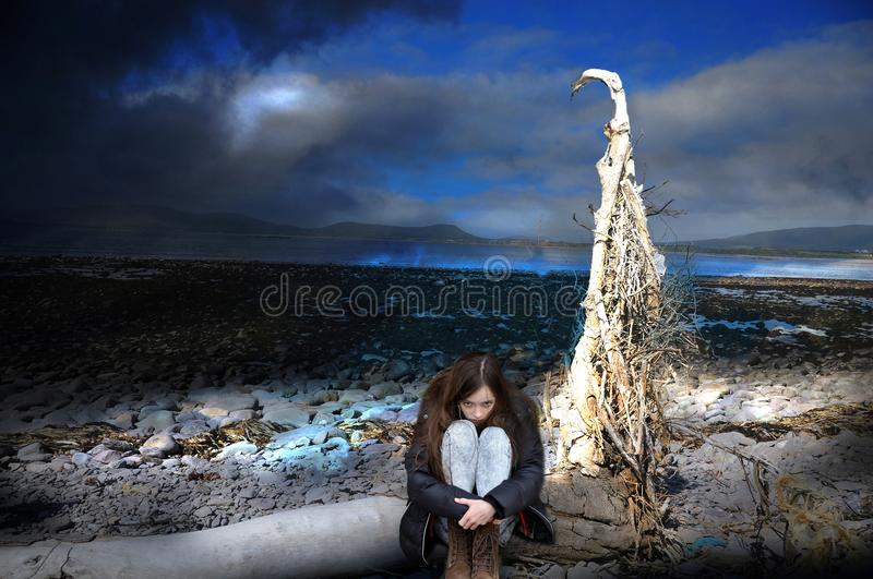 Nightmare , girl alone in a totally destroyed world royalty free stock image