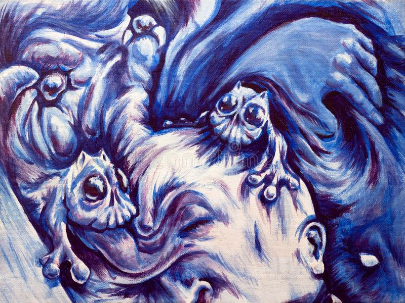 Nightmares, bad dreams or hallucinations. Mental health illustration. Nightmares, frightening dreams or hallucinations. Mental health acrylic on canvas surreal vector illustration