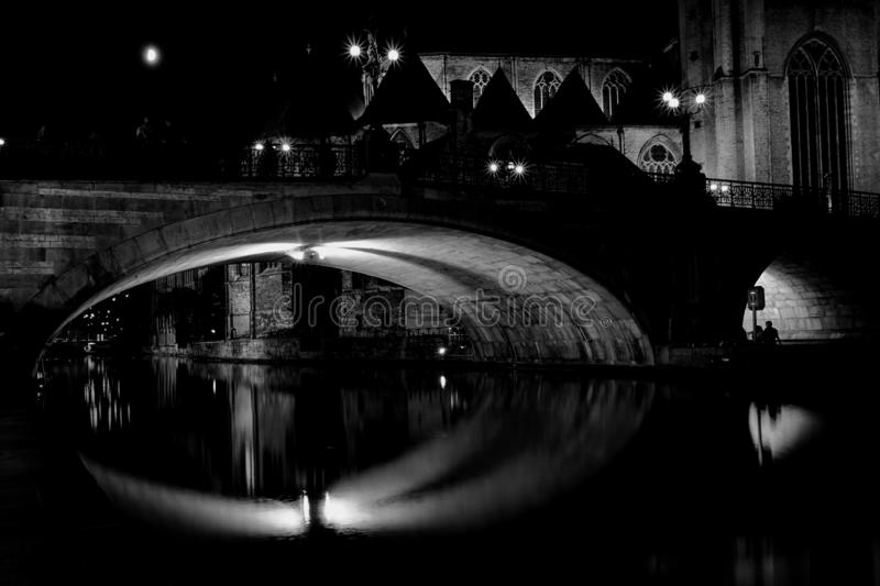 Gent nightshot. Nightpicture of the old part of Ghent stock images