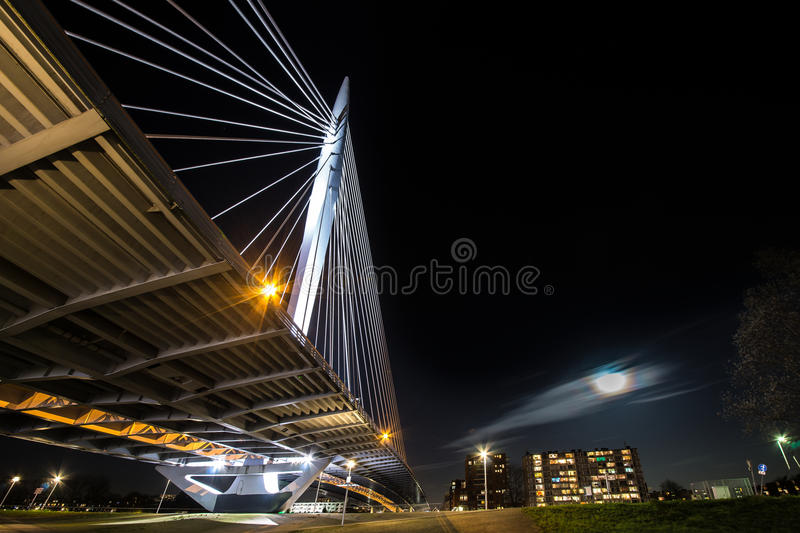 Nightportrait of Utrecht. Image of a cable stayed bridge in Utrecht, The Netherlands royalty free stock photo