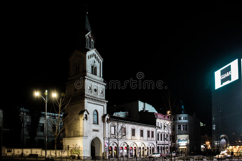 Nights in Bucharest. Iconic places from Bucharest, Romania shot at night. Long exposures, star lights, traffic trails royalty free stock photography