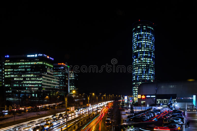 Nights in Bucharest. Iconic places from Bucharest, Romania shot at night. Long exposures, star lights, traffic trails royalty free stock image