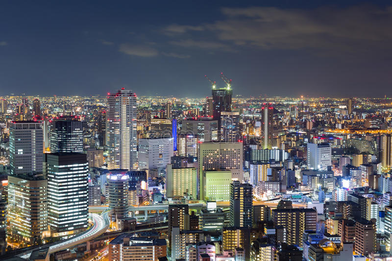 Nights city office building, cityscape downtown background. Osaka Japan royalty free stock images