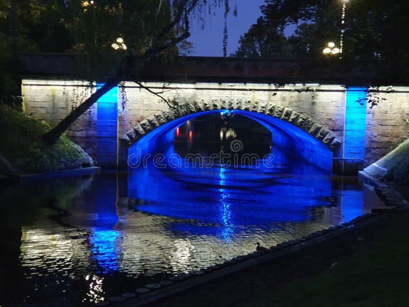 Nights in Riga. Bridge, colour, blue stock photos