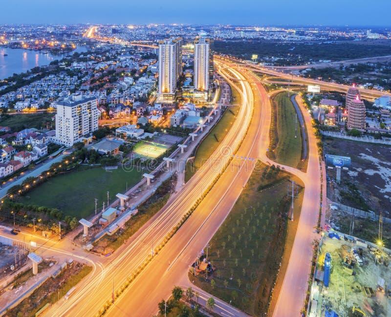 Nightscape asombroso de Ho Chi Minh City, Vietnam foto de archivo libre de regalías