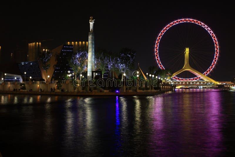 Nightscape de la rueda de Ferris imagenes de archivo