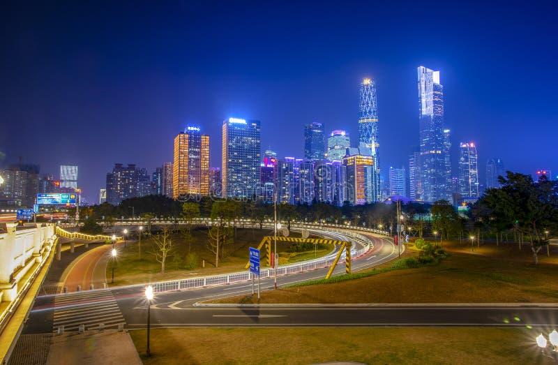 Nightscape de ville nouvelle de Pearl River, Guangzhou, Chine photo stock