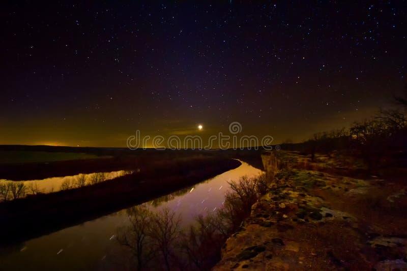 Nightscape del río Osage fotos de archivo