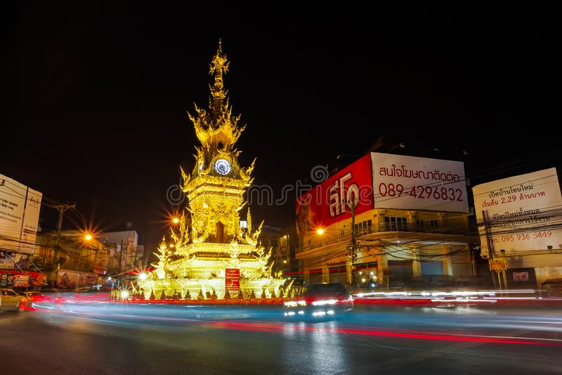 Nightscape of Golden clock tower in Chiang rai, Thailand. royalty free stock photos