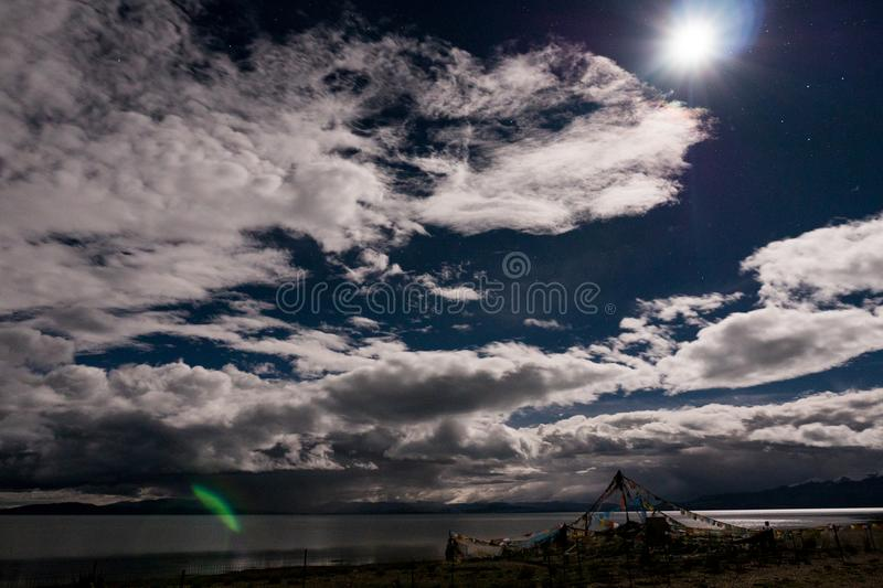 Nightscape Mountain Lake Manasarovar Himalayas Tibet royalty free stock photography