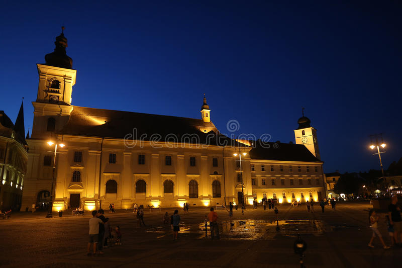 Nightscape in Sibiu, Romania stock photo