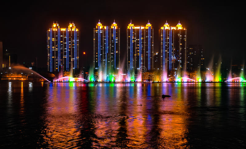 NIGHTSCAPE OF SONGHUA RIVER, JILIN, CHINA royalty free stock images