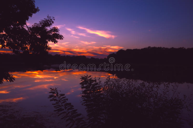 Nightscape - sunset at the Tisza (Tisa) river in Hungary royalty free stock images