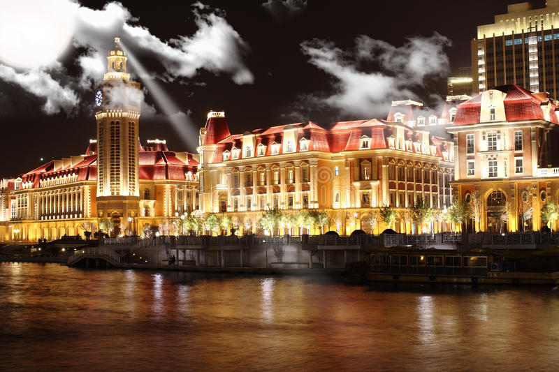 nightscape in Tianjin ,China royalty free stock photos