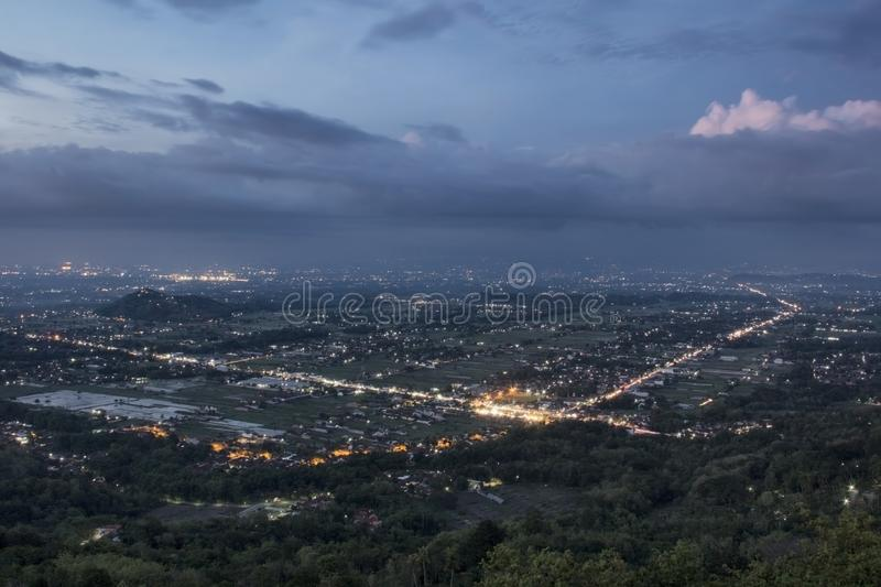 Nightscape, A view of the city of Yogyakarta at night royalty free stock images