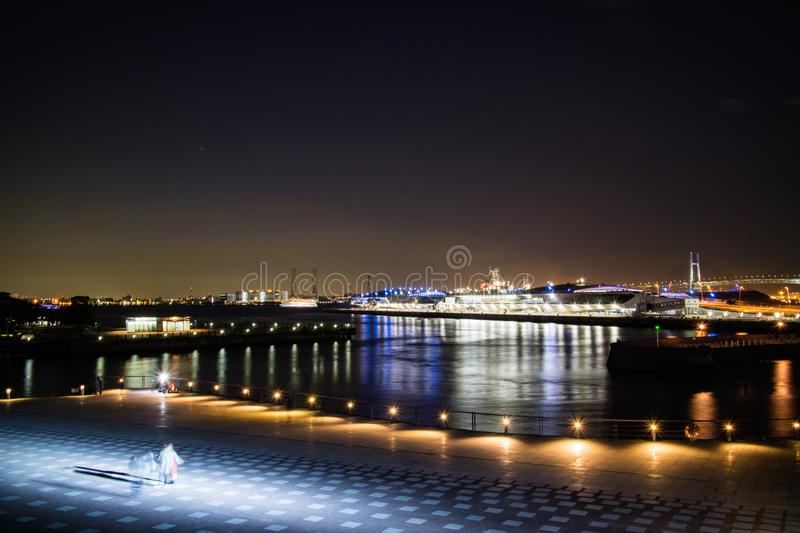A nightscape of Yokoham bay with the Yokohama Bay Bridge in the royalty free stock photos
