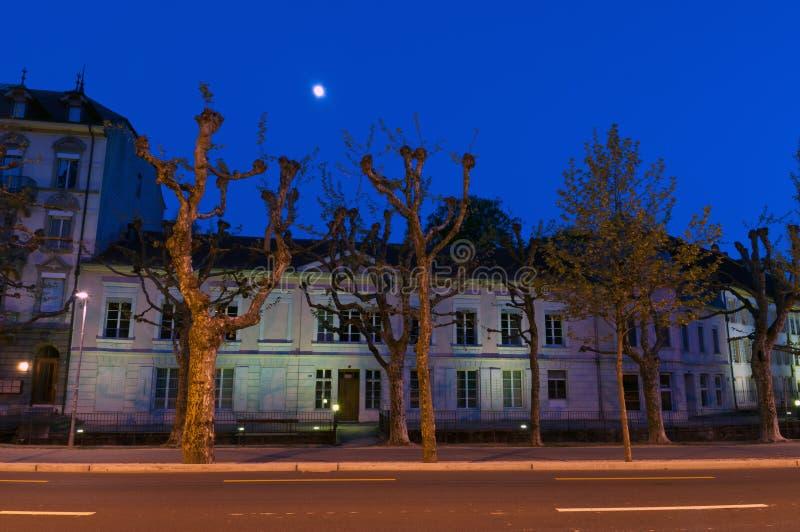 Nightscene a Biel/Bienne immagine stock libera da diritti