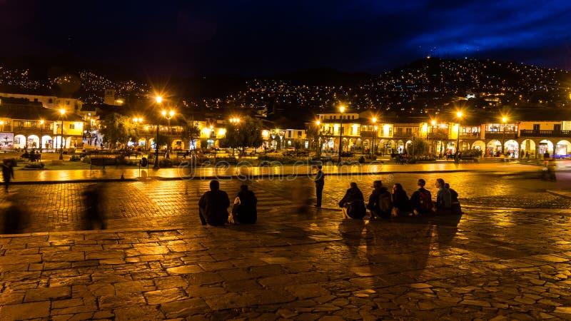 Nightscene in Cusco - Peru lizenzfreies stockbild