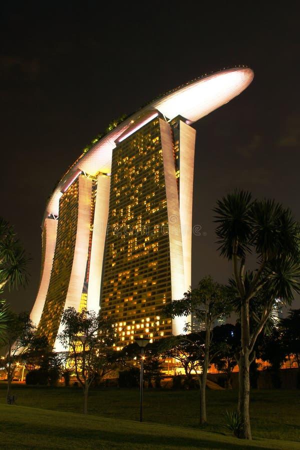 Nightscop of marina bay sands hotel stock photos