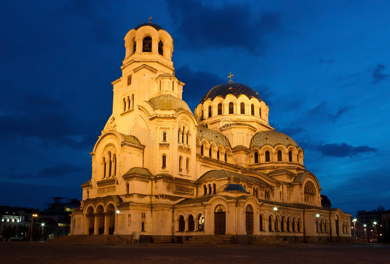 Nightshot του καθεδρικού ναού Alexandar Nevsky στη Sofia στοκ φωτογραφία με δικαίωμα ελεύθερης χρήσης