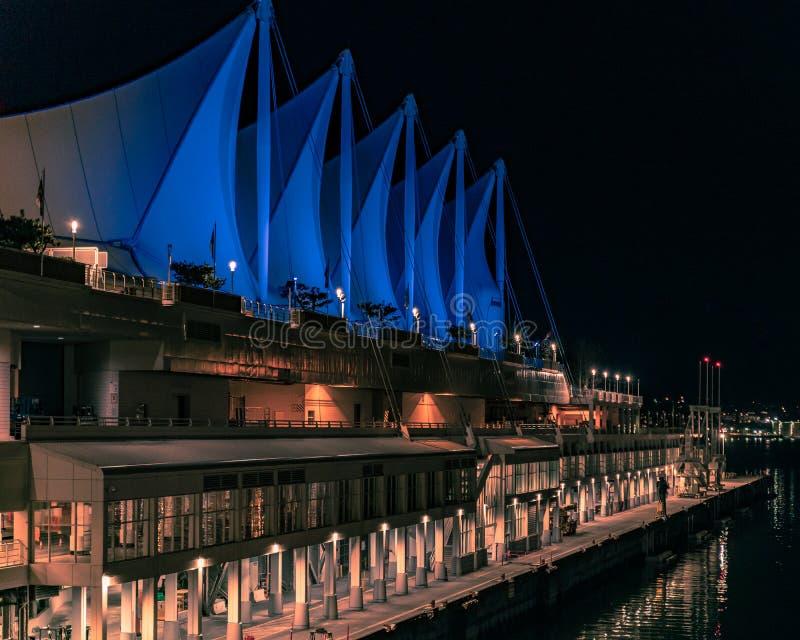 Nightshot места Канады в Ванкувере ДО РОЖДЕСТВА ХРИСТОВА Канаде стоковое фото rf