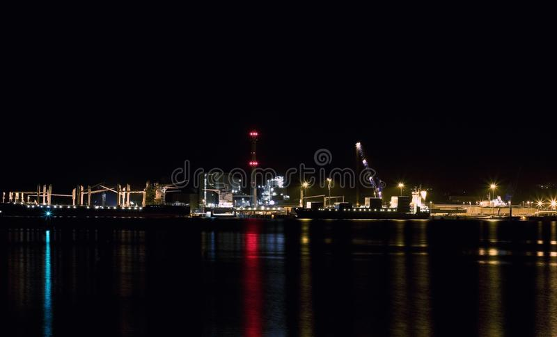 Nightshot. To a container terminal in Kiel Germany stock photo