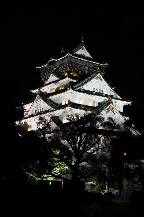 Nightshot av den Osaka slotten i Japan arkivfoto