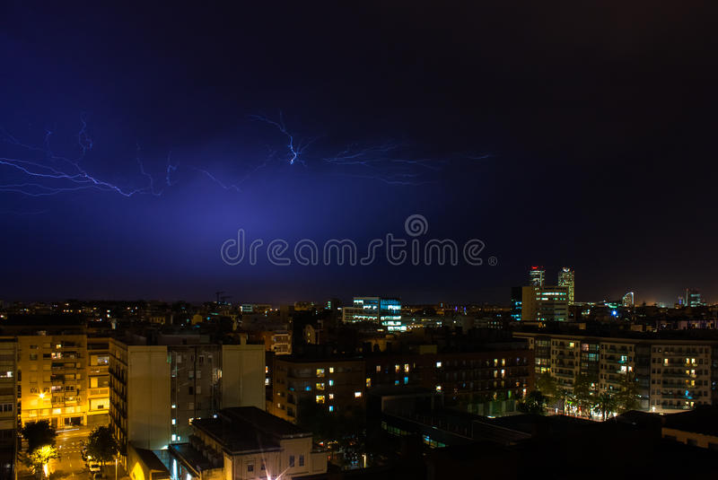Nightshot of Barcelona skyline during an electrical storm. On a summer night stock images