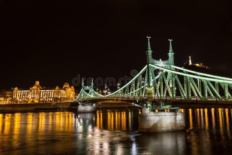 Nightshot at bridge on Danube river. Budapest city Hungary royalty free stock photography