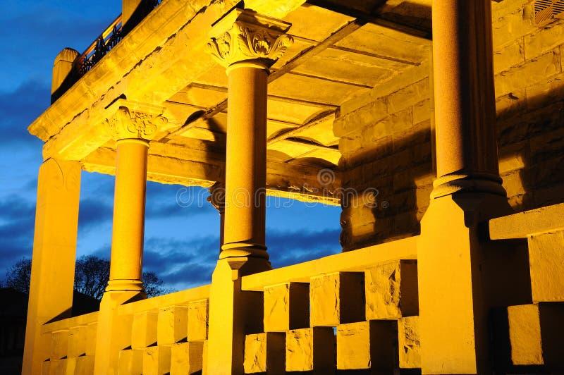 Nightshot of castle corridor royalty free stock photography