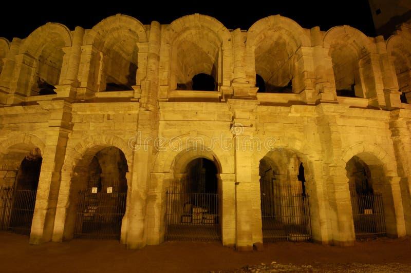 Nightshot der römischen Arena stockbilder