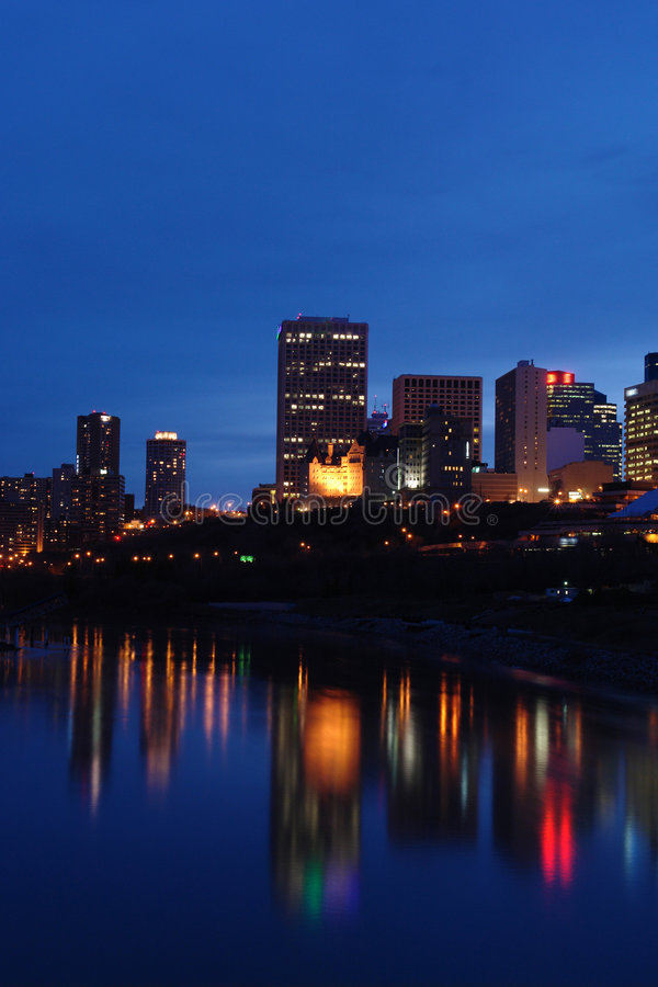 Nightshot of edmonton downtown stock image