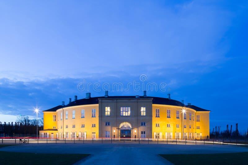 Nightshot of Frederiksberg castle in Copenhagen. Frederiksberg, Denmark - March 21, 2016: Photograph of Frederiksberg castle in Frederiksberg Park by night stock image