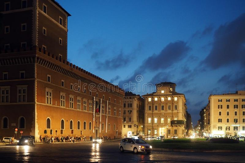 Nightshot of Piazza Venezia in Rome, Italy royalty free stock images